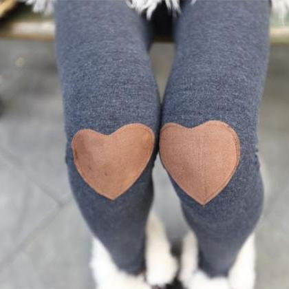 Red Heart Patched Leggings, Tights ..