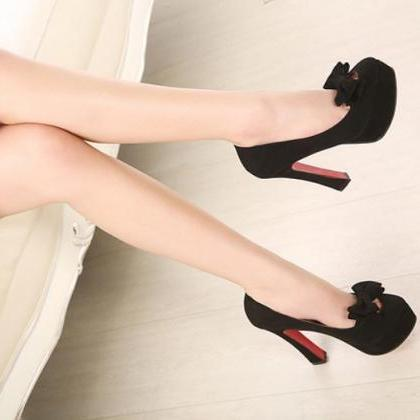 Black Bow Knot Design High Heel Pum..