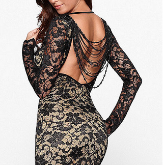 Beads open back alluring dress