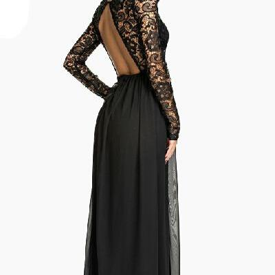 Classy Long Sleeve Backless Lace An..