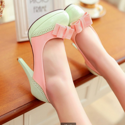 Cute Bow Design High Heel Fashion S..