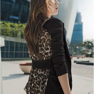 Fashion Womens Casual Leopard Lapel..