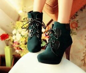 Deep Green Lace Up H..