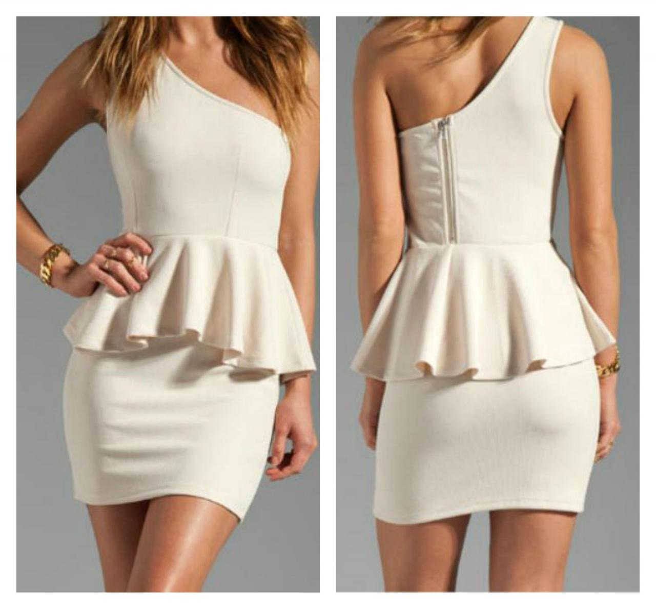 a3b8be86ad Elegant One Shoulder Sleeveless White Peplum Dress on Luulla