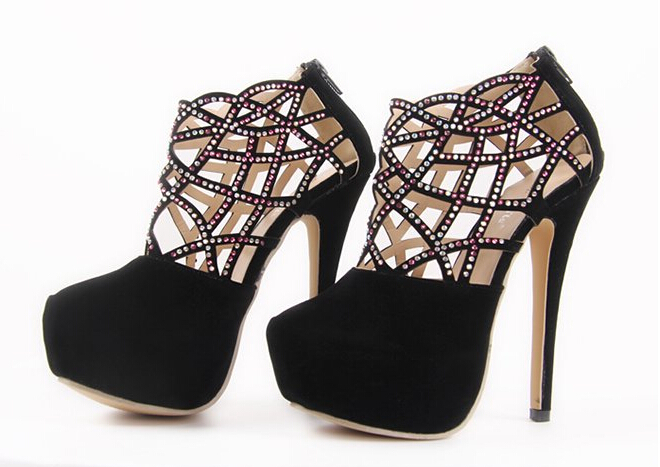 Luxury Diamond Design Black High Heels Party Pumps