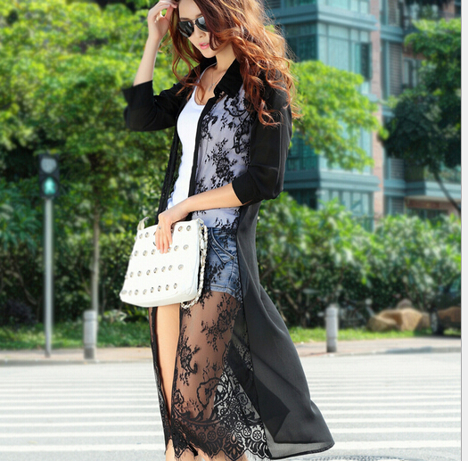 Long paragraph summer sun protection clothing chiffon lace stitching