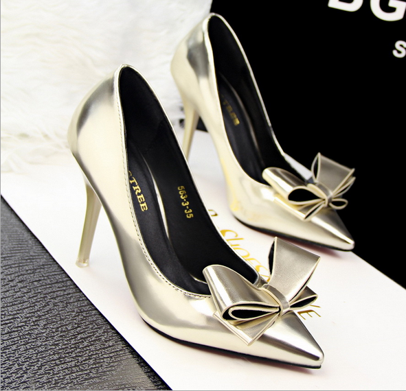 Metallic Bow Accent Pointed-Toe High Heel Stilettos