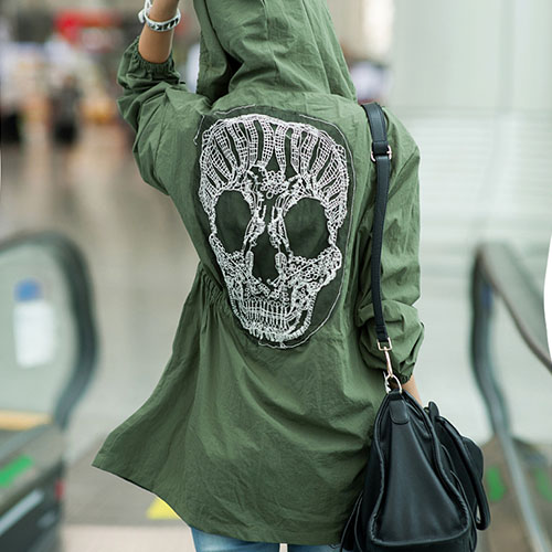 Army Green Lace Skull Detail Back Military Coat Windbreaker