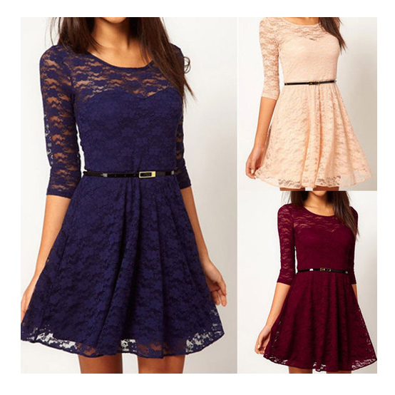Sleeve Lace Dress With Belt