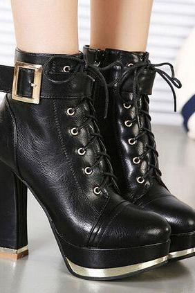 Stylish Black Lace Up Buckle Design Boots