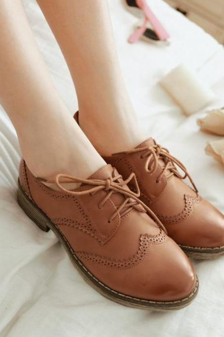 Brown Round Toe Lace Up Flats(00011) 142HCJLT8W0