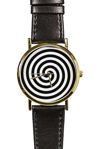Black And White Swirl Watch Vintage Style Leather Watch Men'S Watch Women Watches Boyfriend Watch