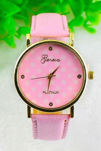 Dot Watch Pink Polka Dot Leather Watch Leather Watch Bracelet Watch Vintage Watch Retro Watch Woman Watch Lady Watch Girl Watch Unisex Watch