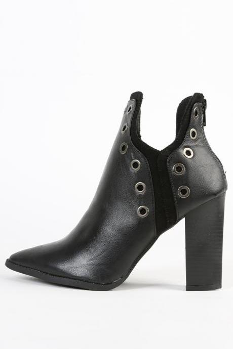 Fashionwear Pointy Circle Studs Thick Heel Ankle Boots
