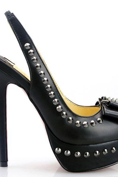New Stylish Handmade Black High Heel Rivets Pumps FVYJ8372JL8Q3ZB2CUJ9X 1GFK1CCFXQG