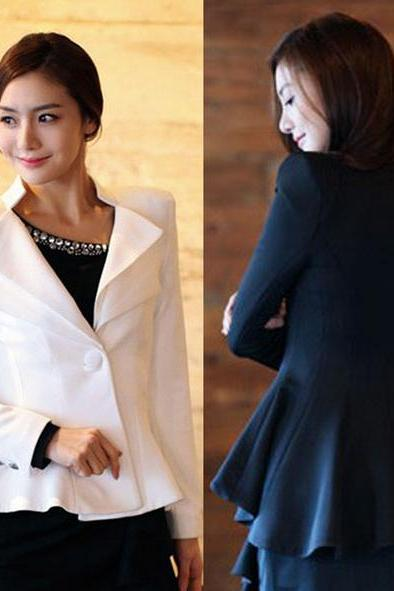 White & Black Double Collar Fishtail Tuxedo Suit Blazer