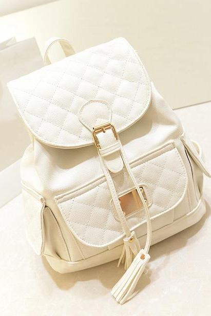 Gorgeous Tassel Design Backpack In White