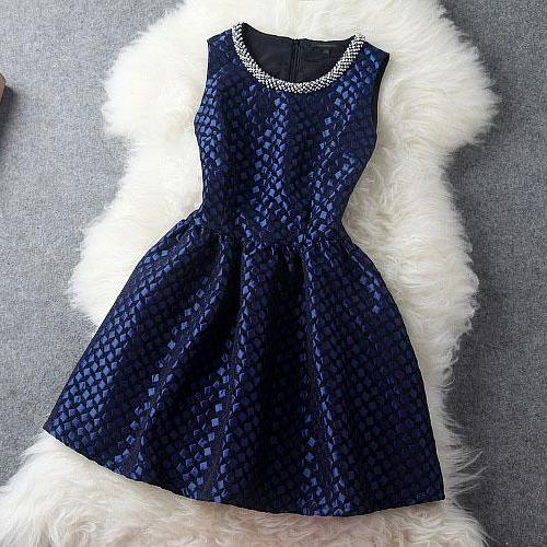 Luxury Designer Blue Beading Party Dress