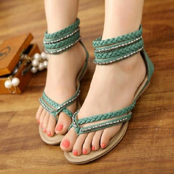 Clip Toe Hollow Out Diamond Flat Shoes