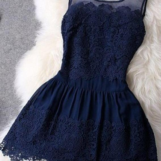 Sheer Shoulders Lace Embroidery Sleeveless Dress