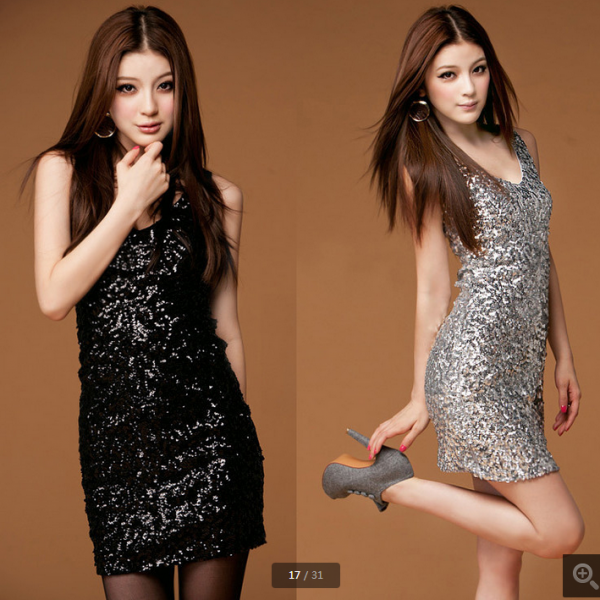 High Quality Sexy V-Neckline Sequins Dresses, Sparkle Sequins Dresses, Sequins Dresses