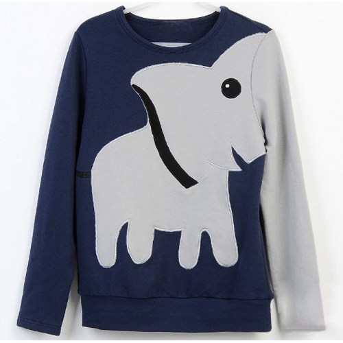 Elephant Casual Hoody Long-Sleeved Bottoming Sweatshirt