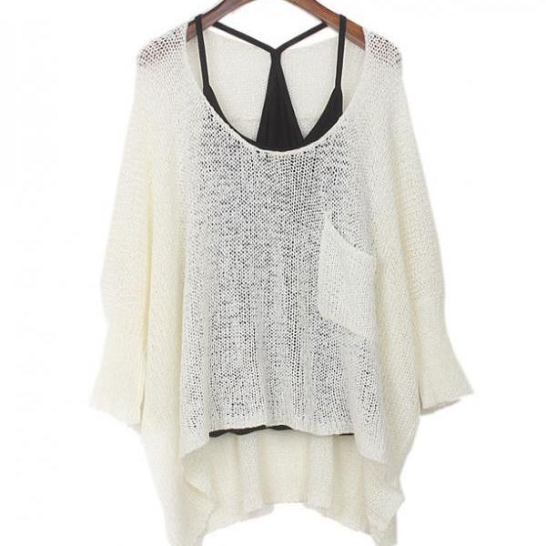 Fashion Long Sleeve Pocket Loose Batwing Sweater