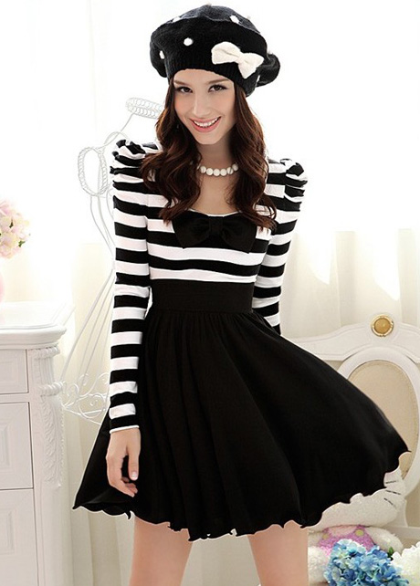 befac52bb3 Elegant Black And White Striped Long Sleeve Dress on Luulla